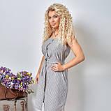 Льняной летний стильный сарафан в полоску, р.48,50,52,54 код 5015С, фото 9