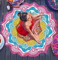 Коврик мандала подстилка на пляж пляжний килимок настенный гобелен декор