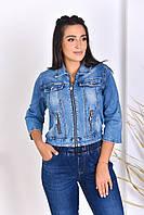 Стильная женская джинсовая курточка на молнии укороченного фасона