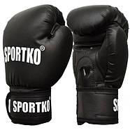 Боксерські рукавички SPORTKO, кожвініл, вага - 16 унцій (сині, червоні, чорні), фото 2