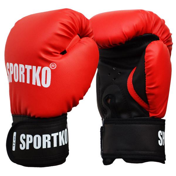 Боксерські рукавички SPORTKO, кожвініл, вага - 16 унцій (сині, червоні, чорні)