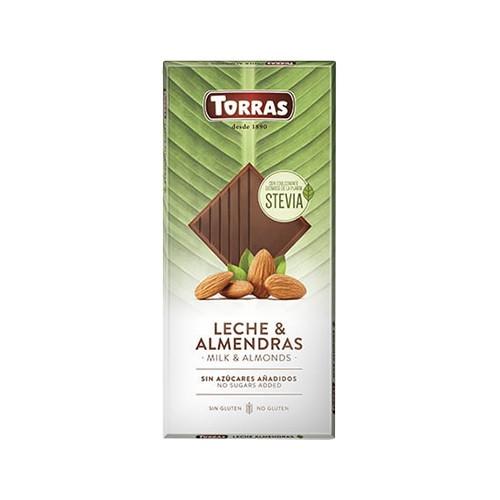 Шоколад молочный без сахара без глютена Torras с миндалем Leche & Almendras 125 г Испания