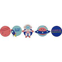Значки-липучки комплект Космос