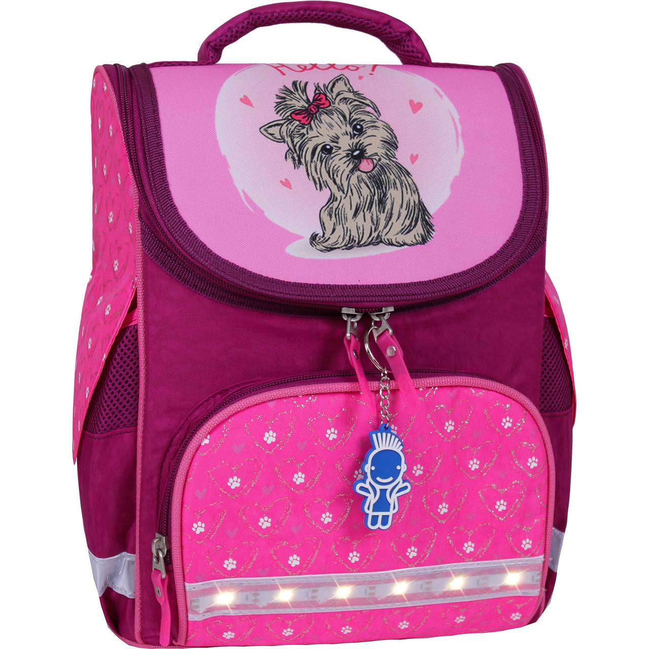 Рюкзак школьный каркасный с фонариками Bagland Успех 12 л. малиновый 167 (00551703)