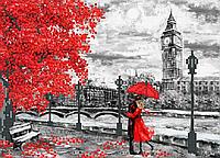 Набережна Лондона . Червоно-чорне Схема вишивки бісером .