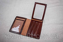 Кожаная обложка на права Имидж коричневая 07-003, фото 3