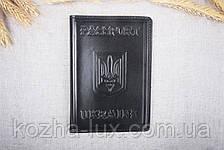 Кожаная обложка на паспорт Имидж черная 05-001, фото 3