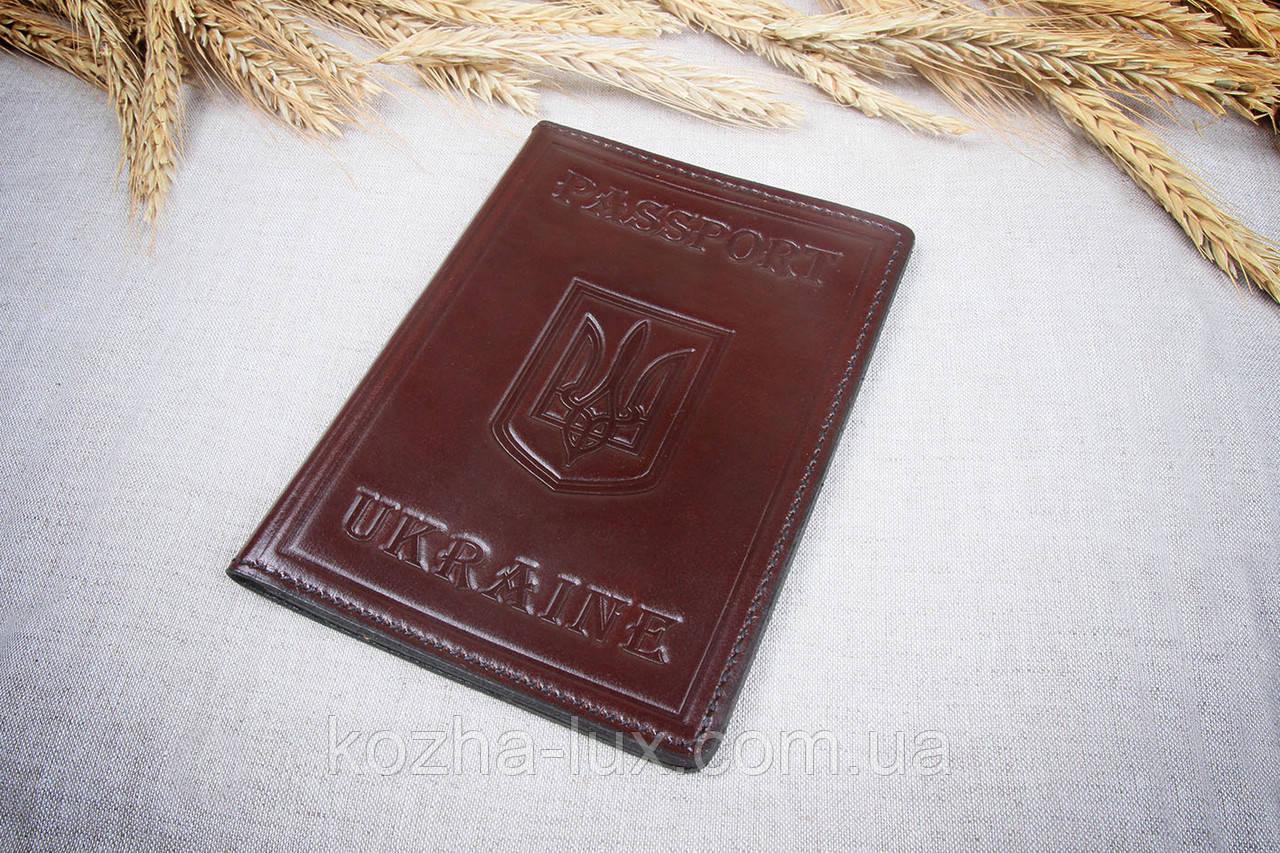 Кожаная обложка на паспорт Имидж коричневая 05-003