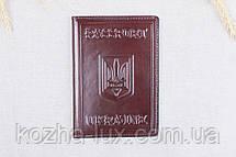 Кожаная обложка на паспорт Имидж коричневая 05-003, фото 3