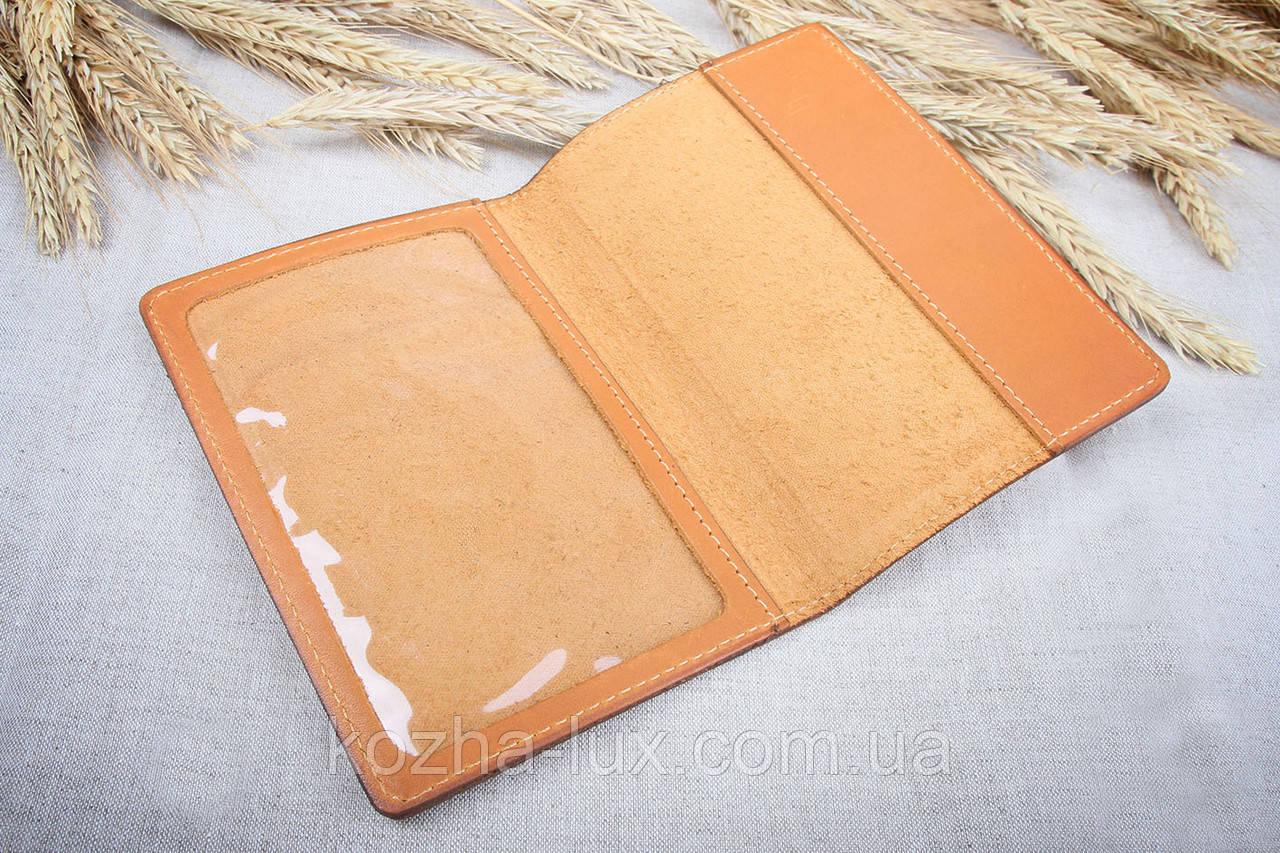 Кожаная обложка на паспорт Имидж рыжая 06-002