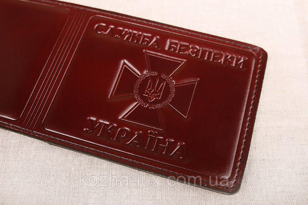 Кожаная обложка СБУ шоколадный 017-003