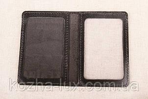 Кожаная обложка На две карточки чёрный 020-001, фото 2