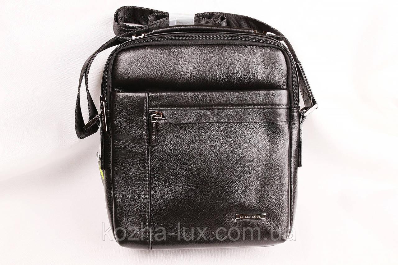 Мужская кожаная сумка Cheer Soul черная 1-7061