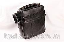 Мужская кожаная сумка Cheer Soul черная 1-7061, фото 3