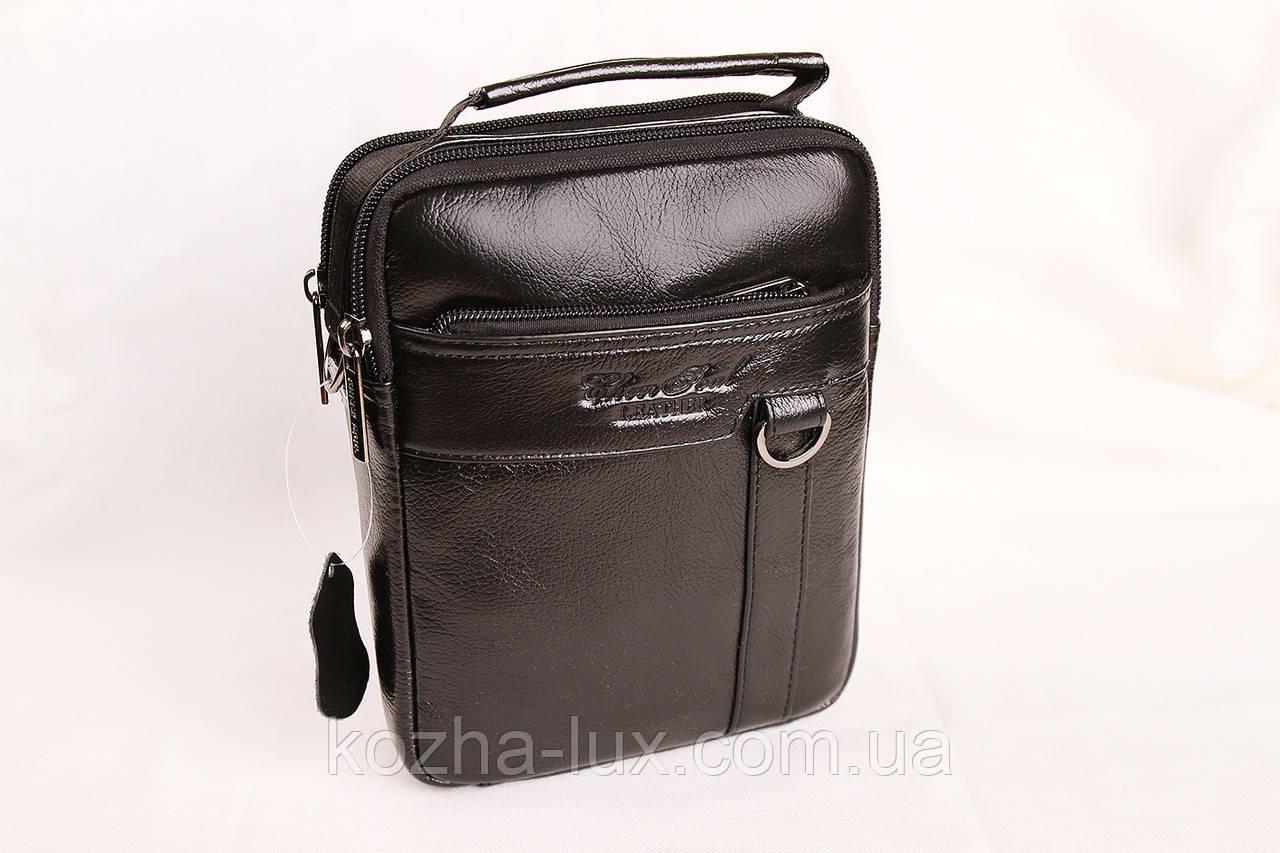 Мужская кожаная сумка Cheer Soul черная 1-6810