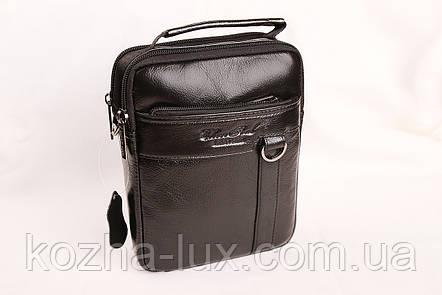 Мужская кожаная сумка Cheer Soul черная 1-6810, фото 2