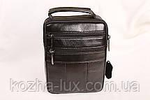 Мужская кожаная сумка Cheer Soul черная 1-6810, фото 3