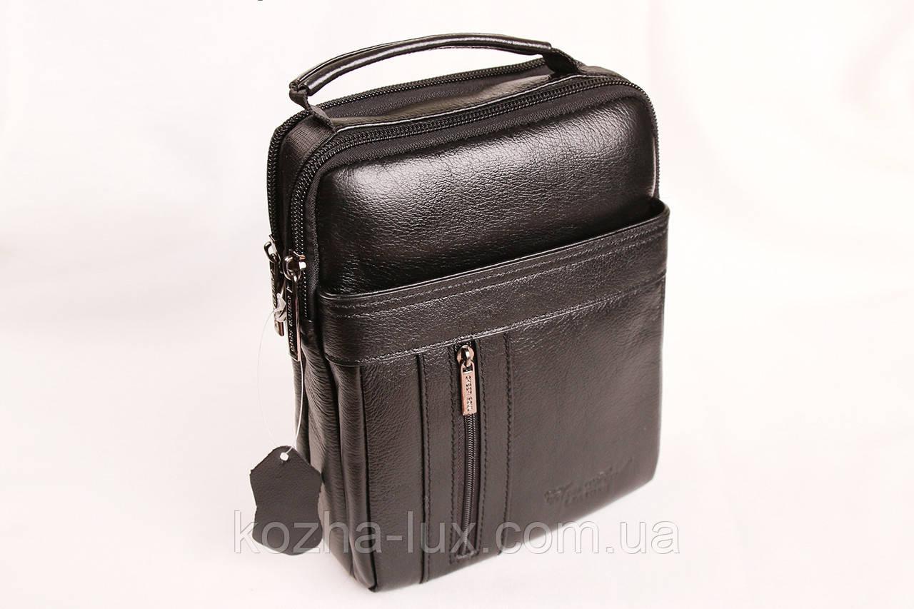 Мужская кожаная сумка Cheer Soul черная 1-6808