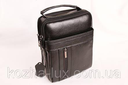 Мужская кожаная сумка Cheer Soul черная 1-6808, фото 2