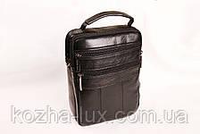 Мужская кожаная сумка Cheer Soul черная 1-6808, фото 3