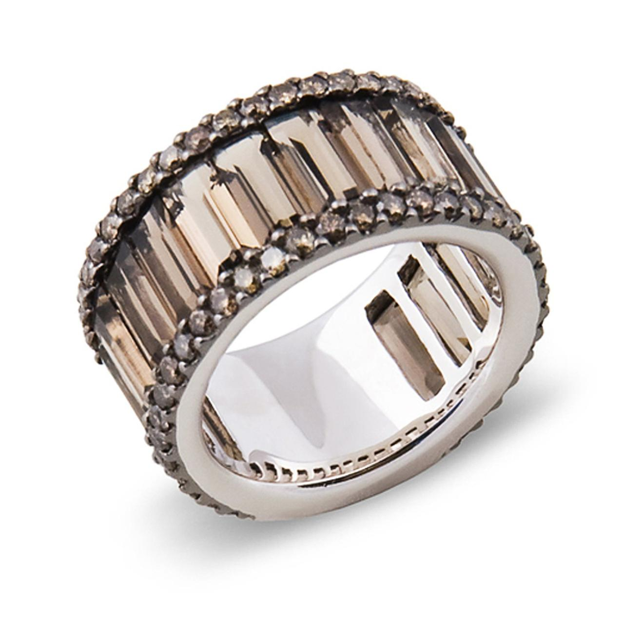 Золотое кольцо с бриллиантами и дымчатыми кварцами, размер 16.5 (000006)