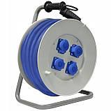 Удлинитель электрический на катушке 4 гнезда 40 м кабель КГНВ 3х1.5 мм², фото 2