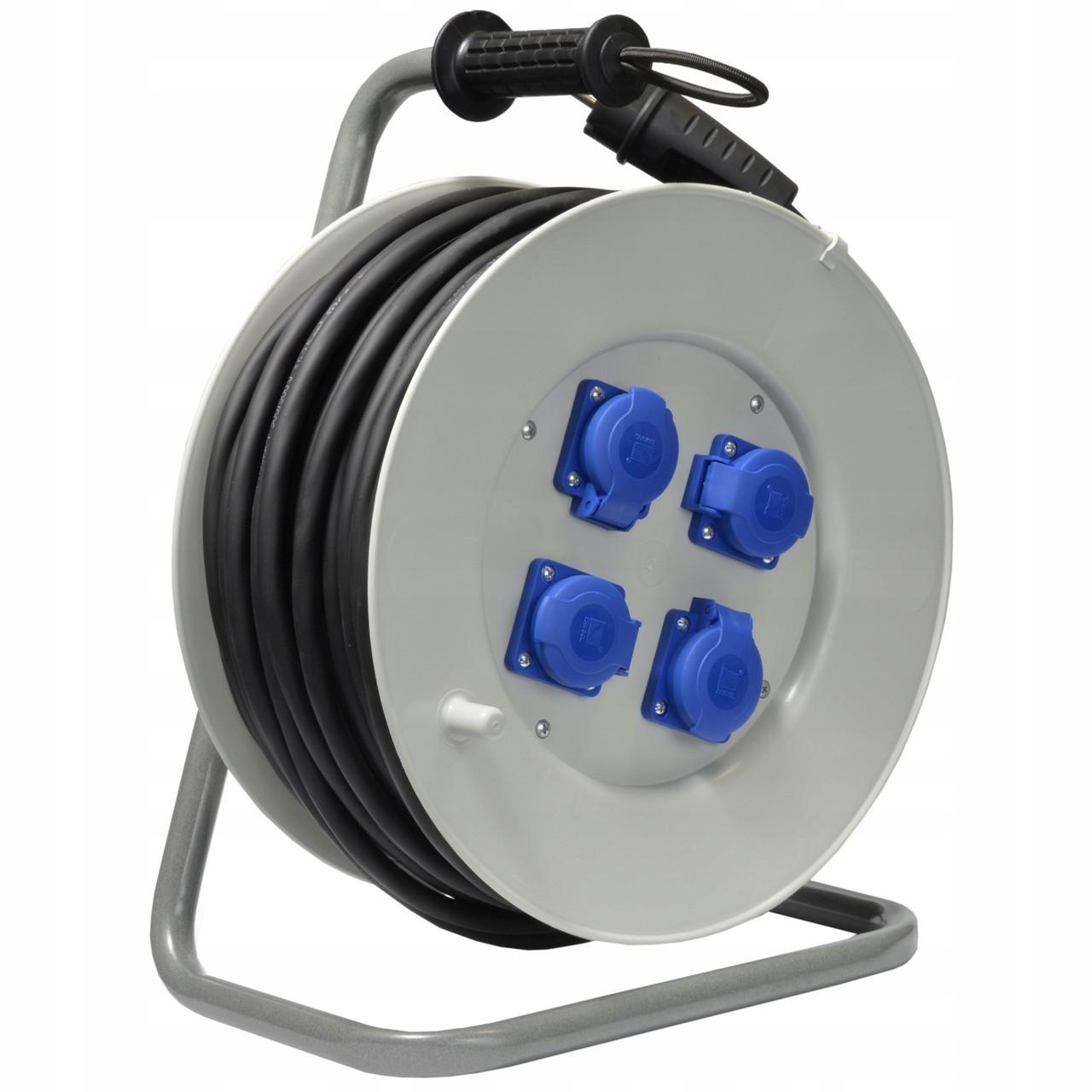 Удлинитель электрический на катушке 4 гнезда 50 м кабель ПВСн 2х2.5+1х2,5 мм²
