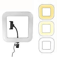 Кольцевая лампа светодиодная D35 35см с держателем, квадрат