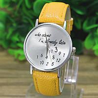 "Часы женские ""Who cares"" на желтом кожаном ремешке"