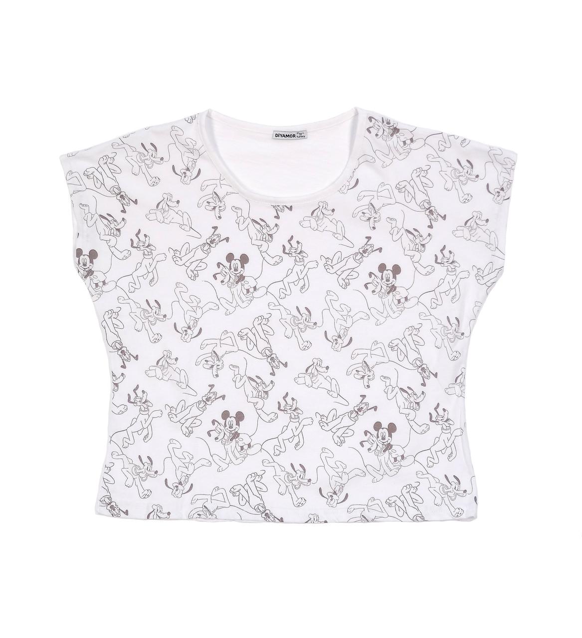 Короткая женская футболка с Микки маусом (42-44)