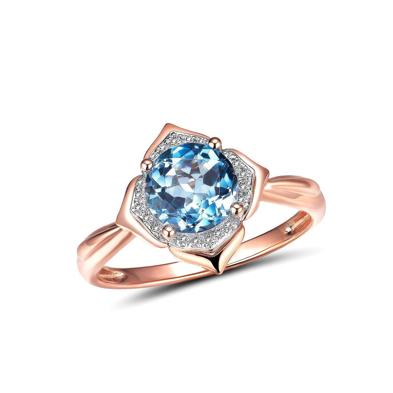 Золотое кольцо с бриллиантами и топазом, размер 16.5 (1694185)