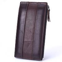 Мужской длинный кожаный кошелек на кнопке Premium CF57124 Brown. Шкіряний гаманець на кнопці