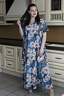 Платье свободное большого размера в цветочный принт лето Валенсия 58-70рр