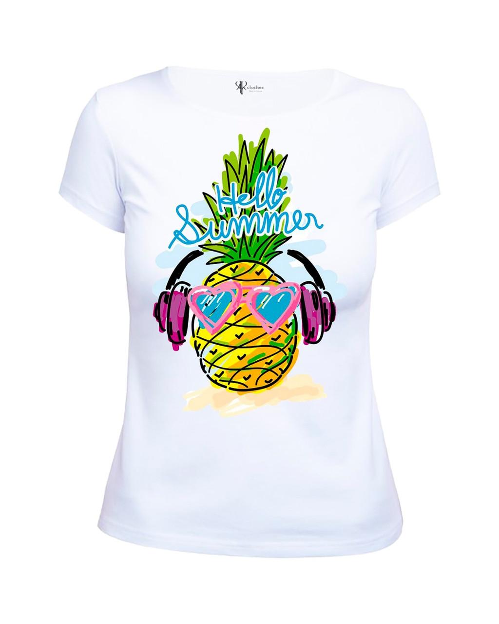 """Летняя модная женская футболка с принтом """"Ананас Hello Summer"""""""