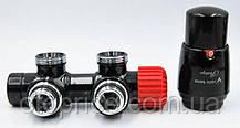 Комплект термостатический угловой черный TWINS 50 мм
