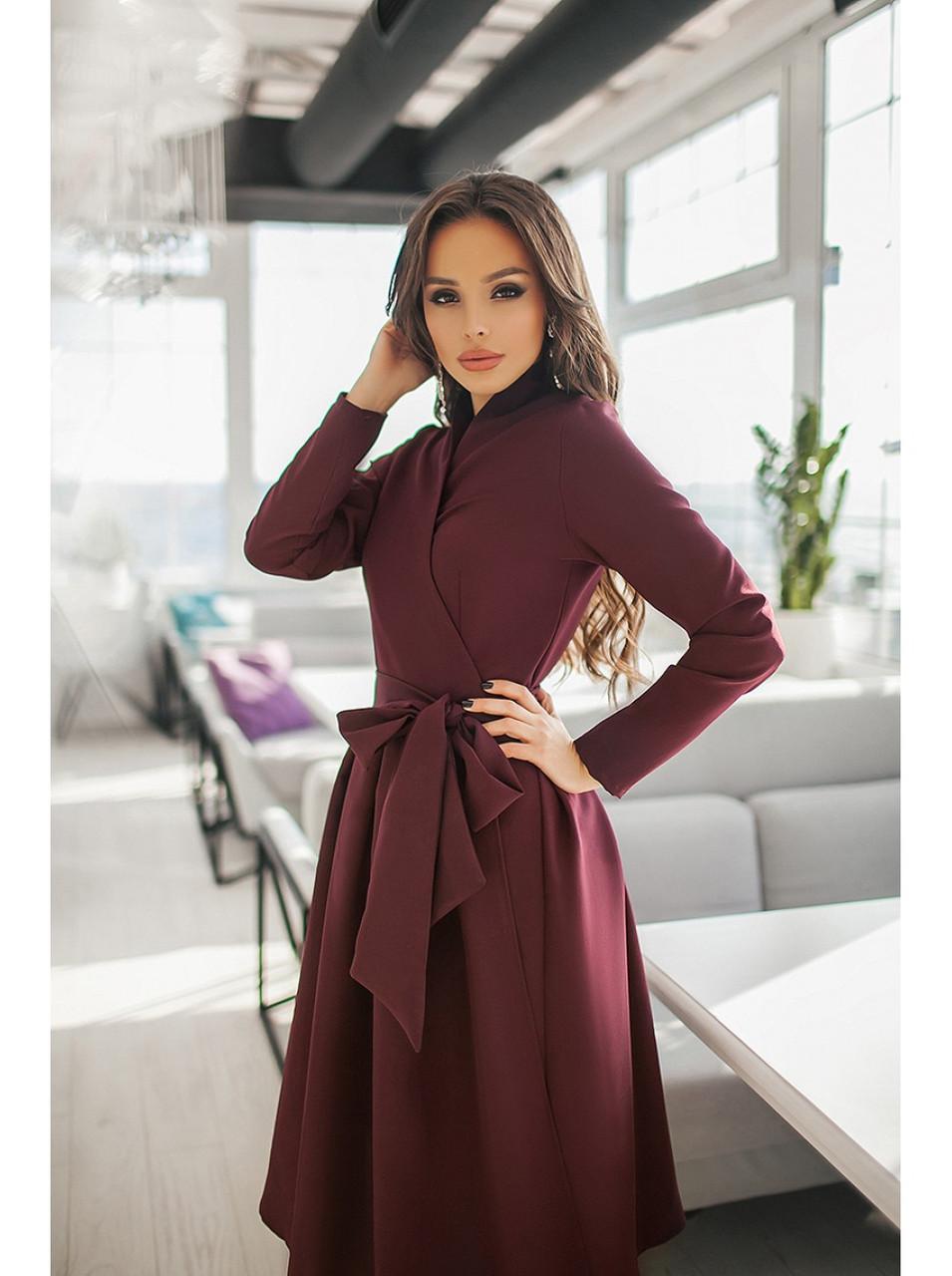 Сукня бордо з пишною спідницею демісезонне