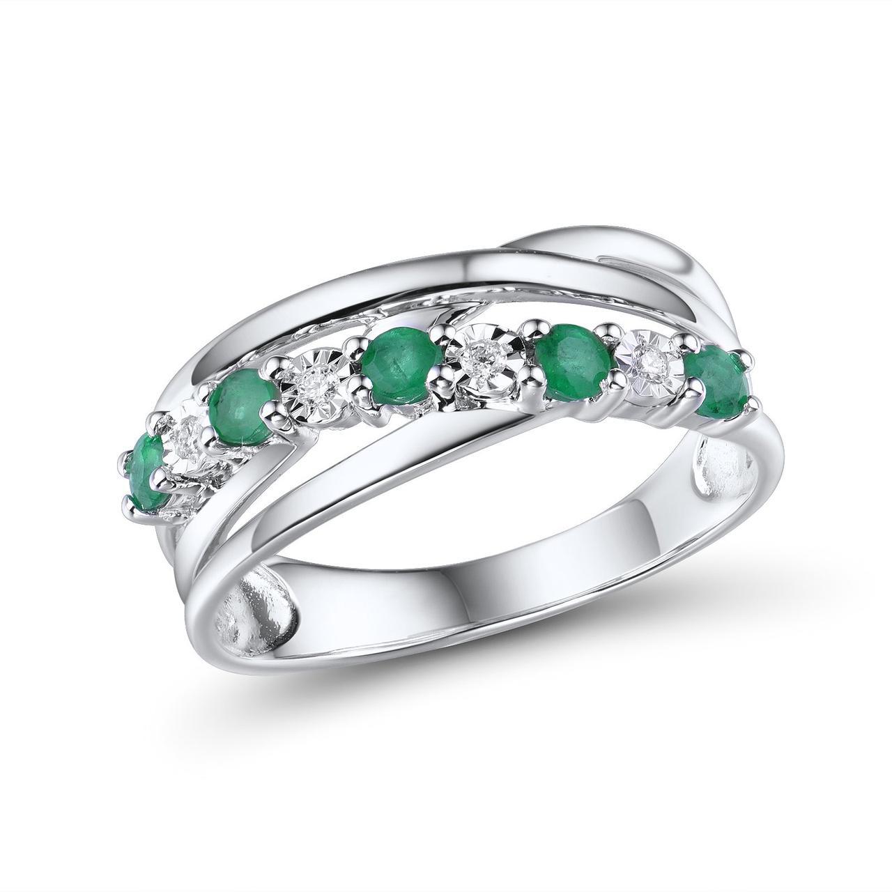 Золотое кольцо с бриллиантами и изумрудами, размер 17 (210385)