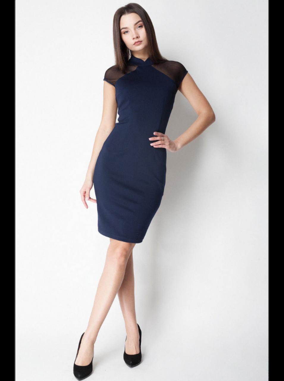 Платье Темно-синее с сеткой