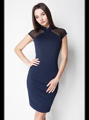 Платье Темно-синее с сеткой, фото 2