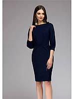 Платье миди темно-синего цвета с прорезными карманами. Демисезон.