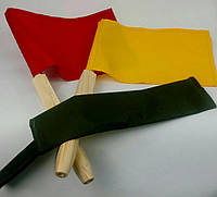 Сигнальные флажки в чехле. Сигнальный флажок армейский. Желтый красный белый, фото 1