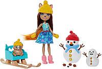 """Игровой набор Enchantimals """"Встреча со снеговиком"""" с куклой-белочкой Mattel GNP16"""