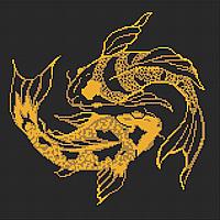 Карпы (золото) Схема полной вышивки бисером