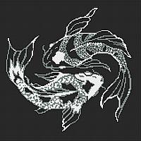 Карпы (серебро ) Схема полной вышивки бисером