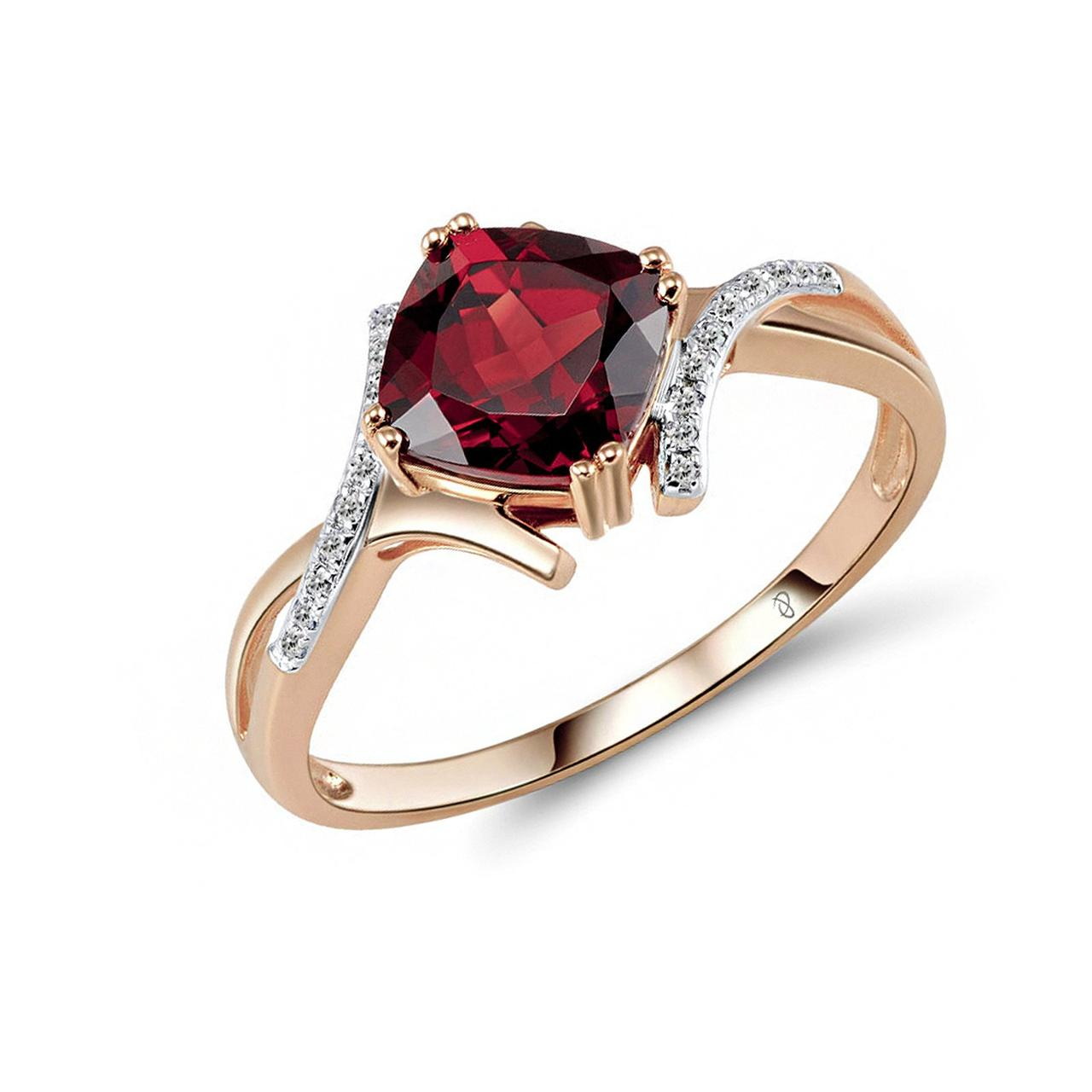 Золотое кольцо с бриллиантами и гранатом, размер 17 (1551692)