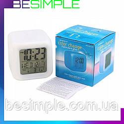 Настольные часы хамелеон Куб Color change / Часы ночник