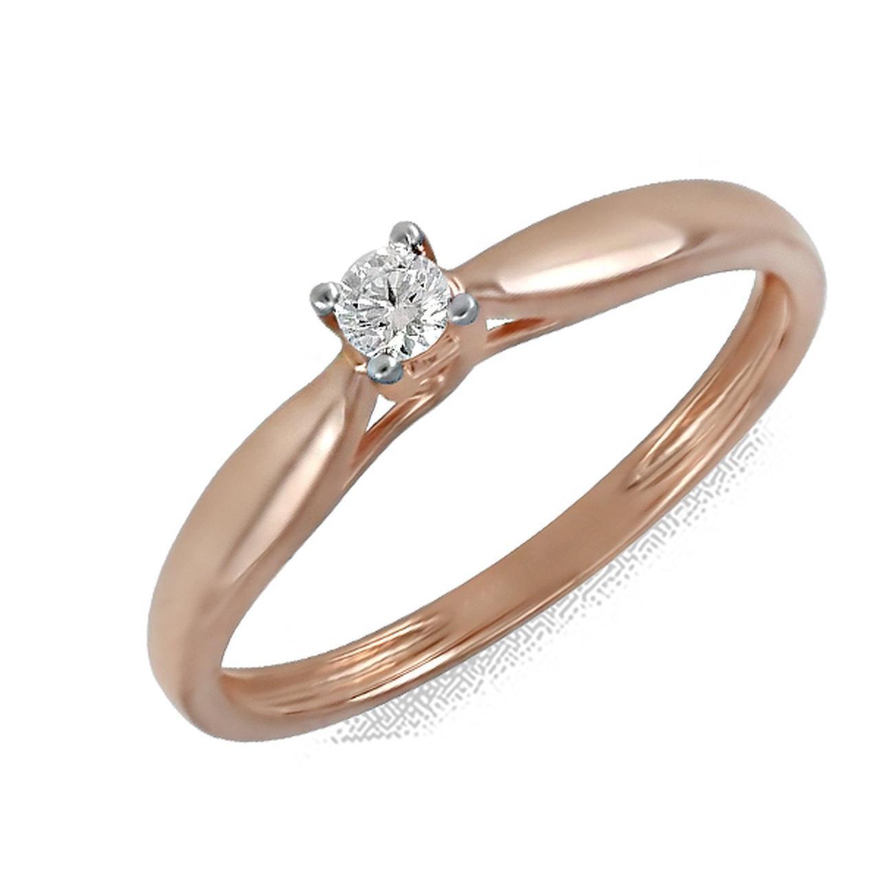 Золотое кольцо с бриллиантом, размер 17 (164598)
