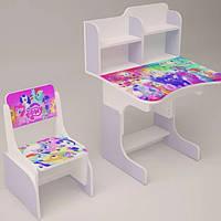 Детский стол-парта со стульчиком Растишка от 3 лет до 14 лет Литл Пони