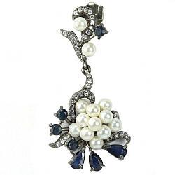 Срібний кулон з перлами і сапфіром, 697ПЖ