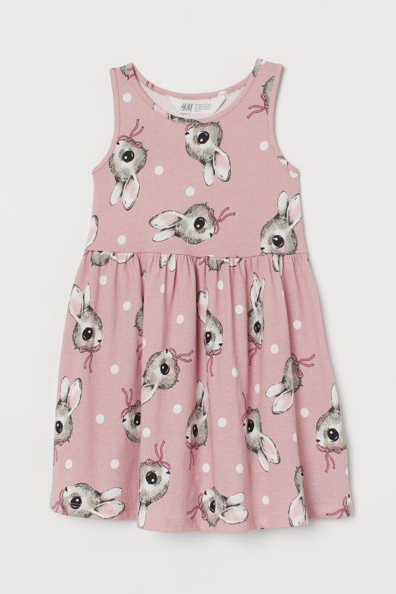"""Платье сарафан H&M """"Кролики"""" для девочек (розовое)"""